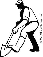 シャベル, 黒, ∥あるいは∥, 堀る, シャベルで掘ること, 白, 庭師, レトロ, 庭師, 踏鋤