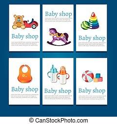 シャワー, カード, セット, 赤ん坊, 招待