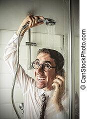 シャワー, ビジネスマン, 幸せ
