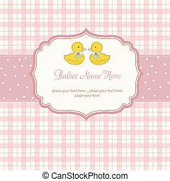 シャワー, 双子, デリケートである, カード, 赤ん坊