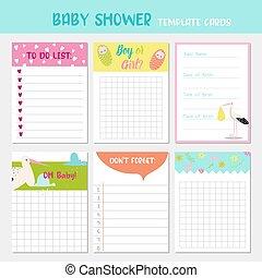 シャワー, 子供, カード, 幼稚, decoration., 背景, birthday, 新生, リスト, ベクトル, かわいい, イラスト, stork., 赤ん坊, パーティー, templates., 幸せ