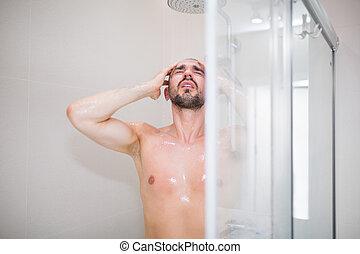 シャワー, 浴室, 人