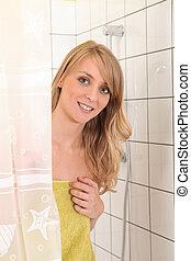 シャワー, 肖像画, 女, 若い