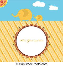 シャワー, 赤ん坊, カード, 新しい, 象