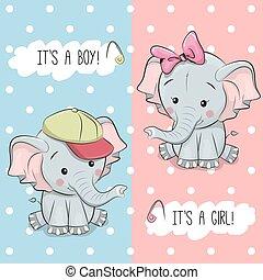 シャワー, 赤ん坊, グリーティングカード, 象