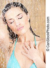 シャワー, sensual, 女, 持つこと, かなり