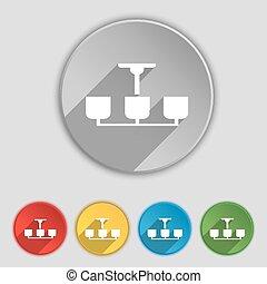 シャンデリア, 平ら, buttons., ライト, シンボル, ランプ, ベクトル, 5, 印。, アイコン