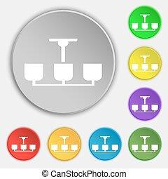 シャンデリア, 平ら, buttons., ライト, 印。, シンボル, ランプ, ベクトル, 8, アイコン