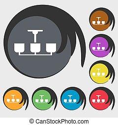 シャンデリア, buttons., 有色人種, ライト, 印。, シンボル, ランプ, ベクトル, 8, アイコン