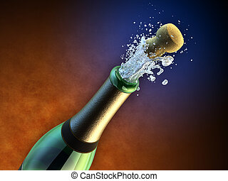 シャンペンの びん