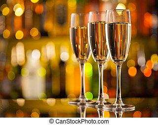 シャンペン ガラス, 背景, ぼやけ