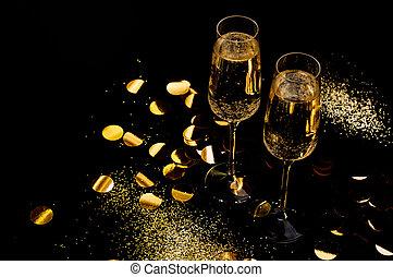 シャンペン ガラス, 背景, 黒