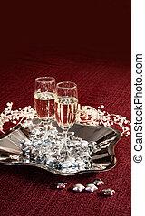シャンペン, 赤, ガラス