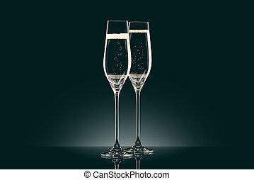 シャンペン, 黒, 2, ガラス, 透明