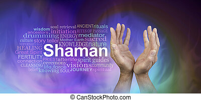 シャーマン, 単語, 雲, 旗, 男性の手