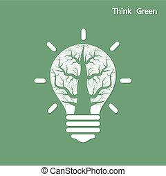 シュート, ライト, 木, 考え, 緑, 電球, 成長しなさい