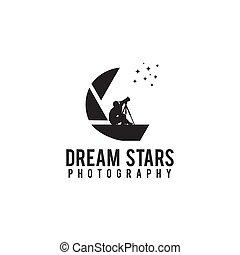 シュート, 写真撮影, デザイン, ロゴ, 人, アイコン, 星, 使うこと, 会社