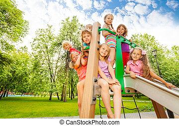 シュート, 子供, 公園, 運動場, 幸せ