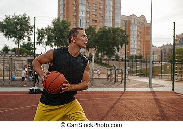 シュート, 屋外, 作りなさい, プレーヤー, バスケットボール, 準備する