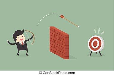 シュート, target., 壁, 上に, 矢, ビジネスマン