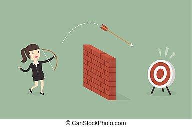 シュート, target., 壁, 女性実業家, 上に, 矢