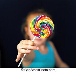 ショウガ, 女の子, 保有物, a, 甘い, lollipop