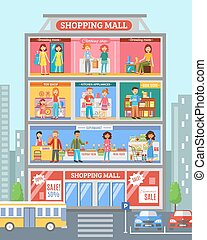 ショッピングセンター, 旗, desingn, 平ら