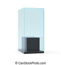 ショーケース, 隔離された, イラスト, pedestal., 黒い背景, 白, 空, 3d