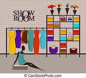 ショールーム, 内部, 現代, 屋根裏, ファッション