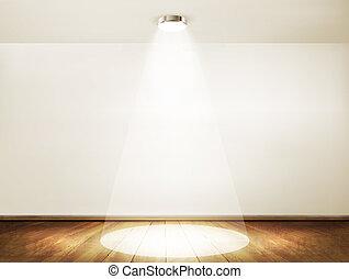 ショールーム, floor., 木製である, concept., 壁, スポットライト, ベクトル