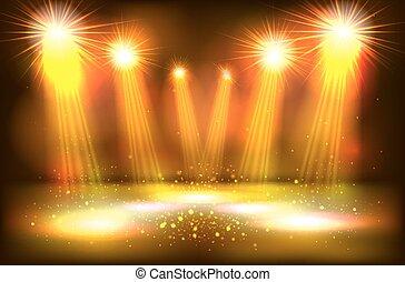 ショー, スポットライト, 金, 現場, 明るい, 照明, 明り