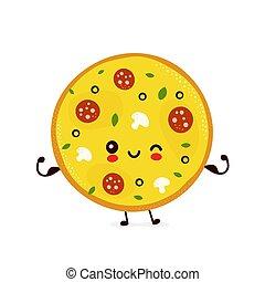 ショー, ピザ, 筋肉, 幸せ, かわいい, 微笑