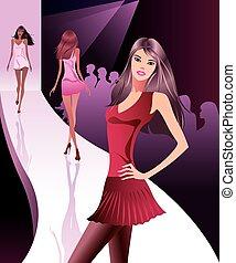 ショー, ファッションモデル, 新しい, 衣服