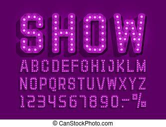 ショー, ライト, set., 型, 印, ベクトル, 壷