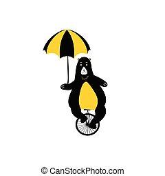 ショー, 熊, 印刷, かわいい, -, illustration., bicycle., サーカス, ベクトル, 動物