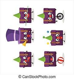 ショー, 紫色, 漫画, 様々, スーツケース, サーカス, 特徴