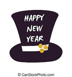 シリンダー, イラスト, ベクトル, 年, 新しい, 帽子, 幸せ