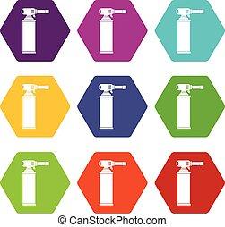 シリンダー, セット, 色, hexahedron, ガス, アイコン