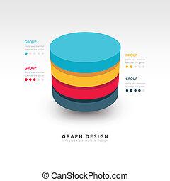 シリンダー, ベクトル, 現代, テンプレート, infographics