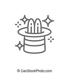 シリンダー, マジック, サーカス, 帽子, うさぎ, 線, icon.