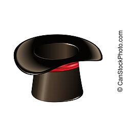 シリンダー, マジック, 隔離された, 背景, 白い帽子