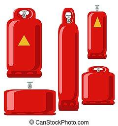 シリンダー, 平ら, ガス, セット, タンク, プロパン, 赤, アイコン