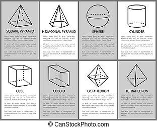 シリンダー, 広場, 球, cuboid, ピラミッド, 六角形