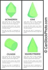 シリンダー, 広場, octahedron, ピラミッド, 数字, コーン