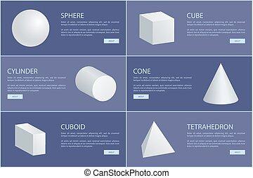 シリンダー, 広場, octahedron, 球, ピラミッド, コーン, 3d