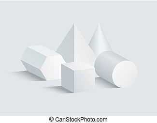 シリンダー, 立方体, ピラミッド, セット, 数字, コーン