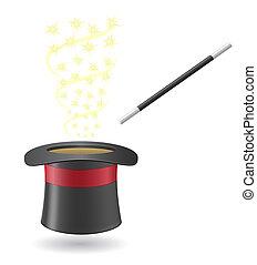 シリンダー, 魔法の 細い棒, イラスト, ベクトル, 帽子