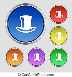 シリンダー, buttons., 印。, 帽子, シンボル, 明るい, ベクトル, カラフルである, ラウンド, アイコン
