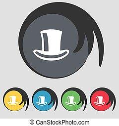 シリンダー, buttons., 有色人種, シンボル, ベクトル, 5, 帽子, 印。, アイコン