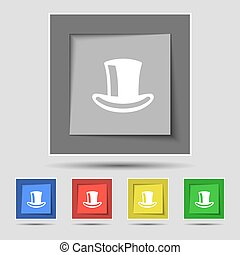 シリンダー, buttons., 有色人種, 印, ベクトル, 5, 帽子, オリジナル, アイコン